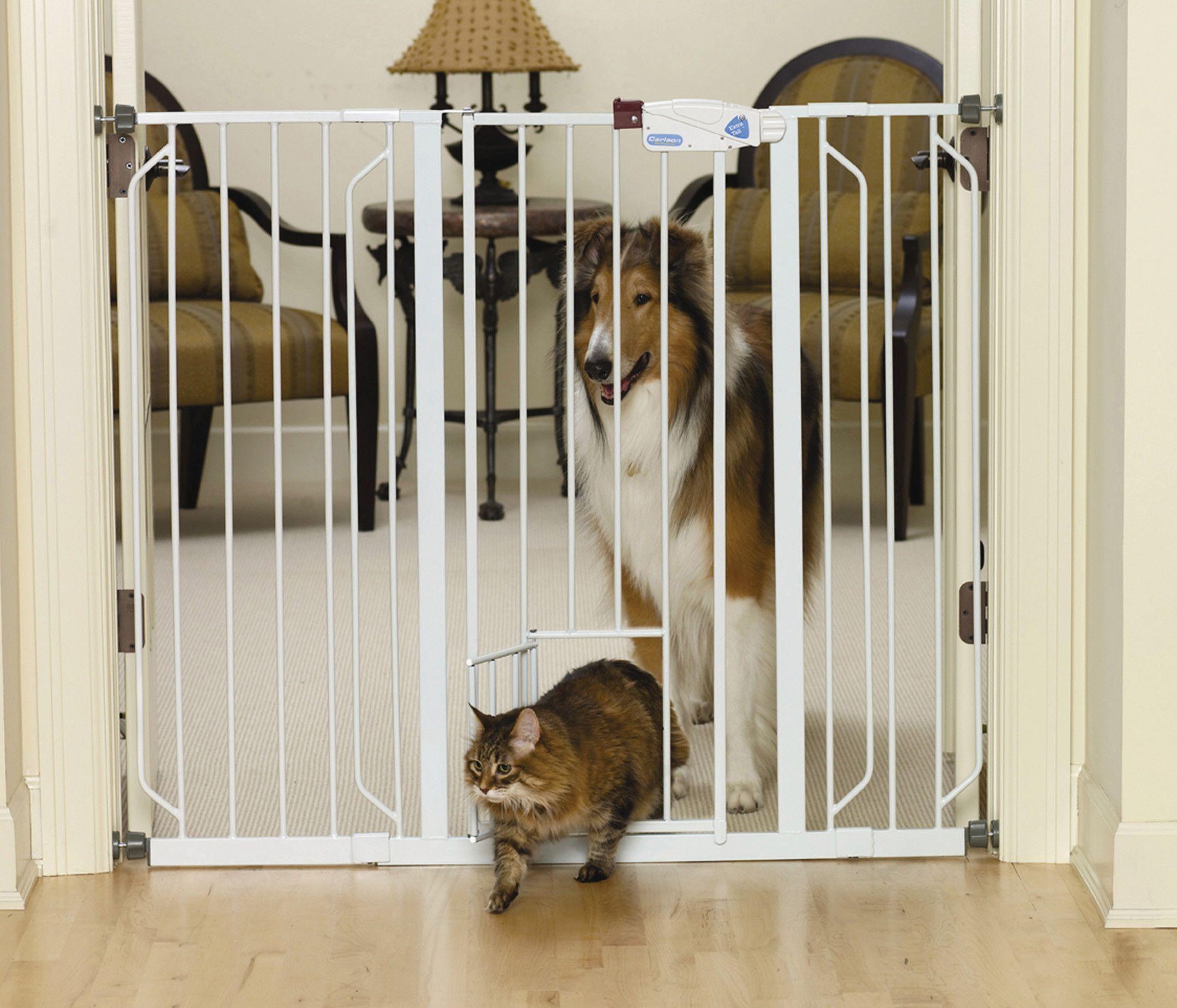 Extra Tall Walk Thru Pet Gate With Pet Door Products Pinterest