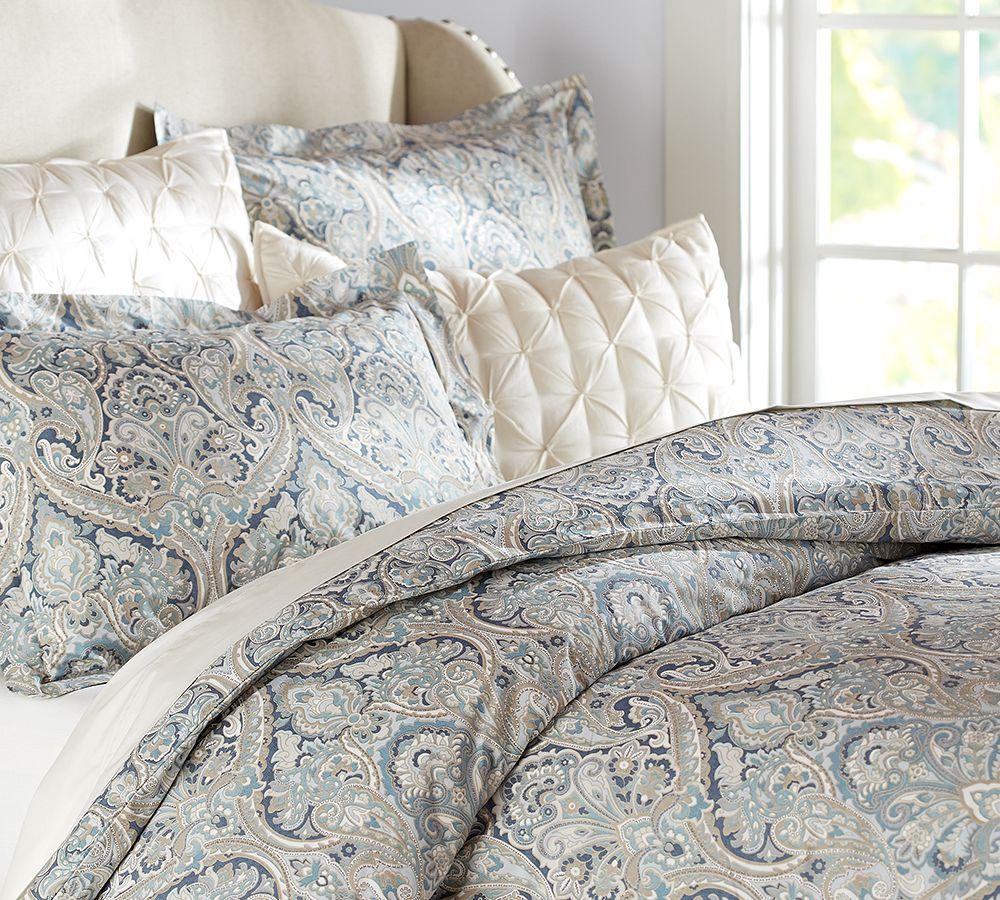 Mackenna Paisley Percale Duvet Cover Shams Blue Bedroom Ideas Pottery Barn Duvet Paisley Bedding Paisley Quilt