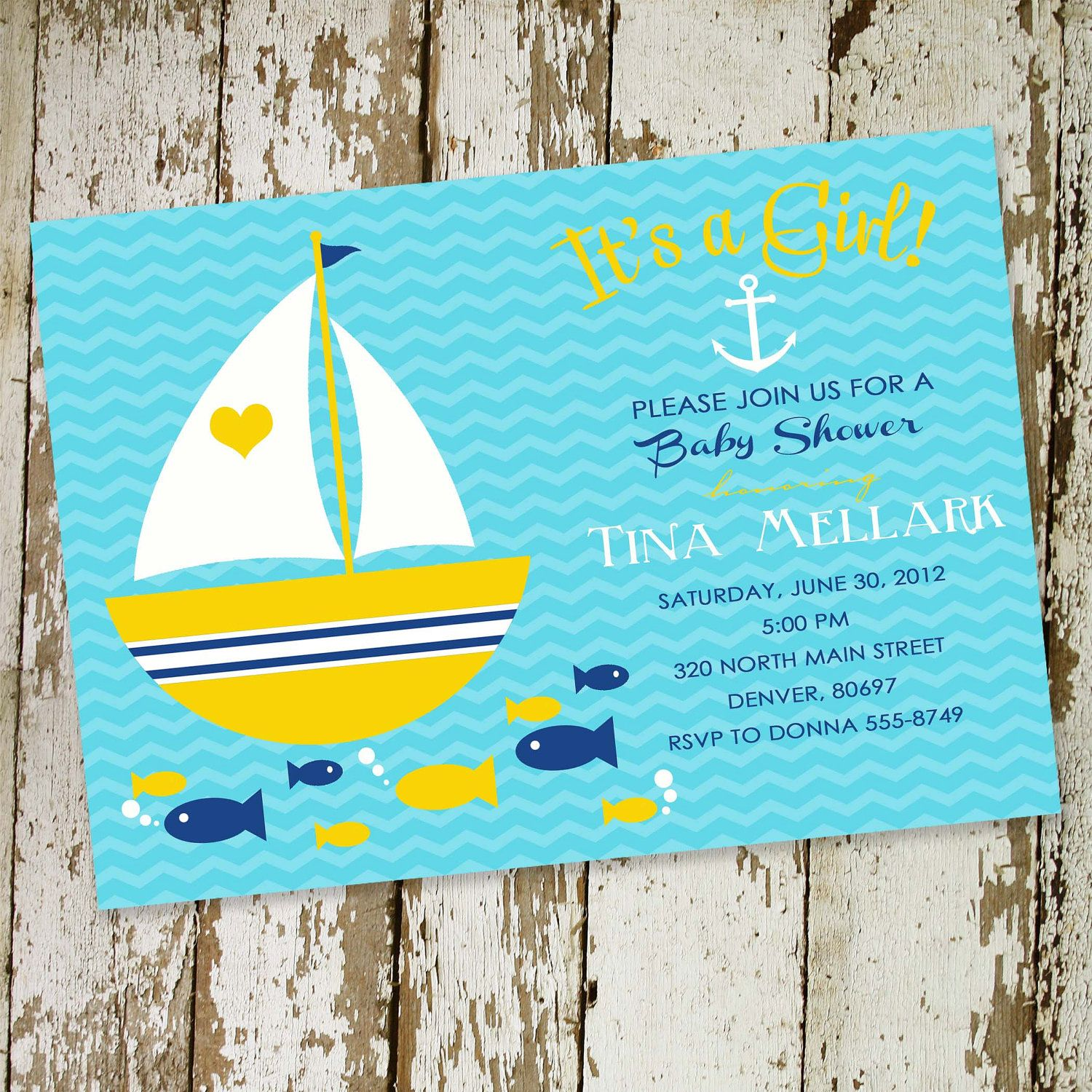 baby girl shower invitations nautical sail boat and fishes, digital ...