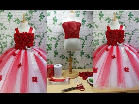 54a02148afee9 Red   White Flower Girl Tutu Dress Tutorial 0092store - YouTube ...