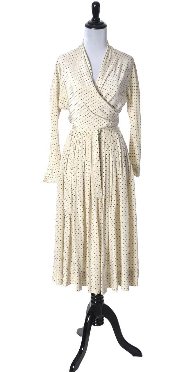 be4422d8b4 rare Vera Maxwell 1950s vintage dress silk polka dots Lord   Taylor