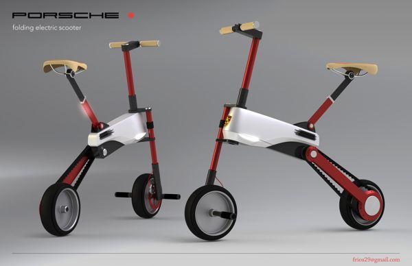 Porsche [ DOT ] Folding Electric Scooter by Federico Rios, via Behance