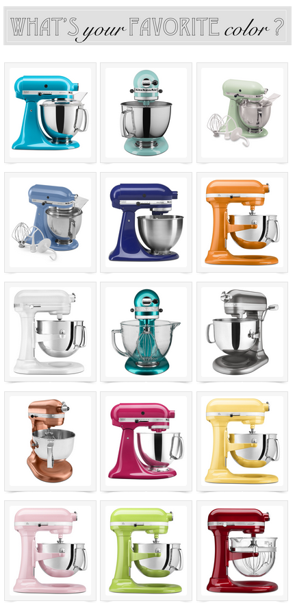 Love these mixer colors I want the Crystal Blue the Majestic