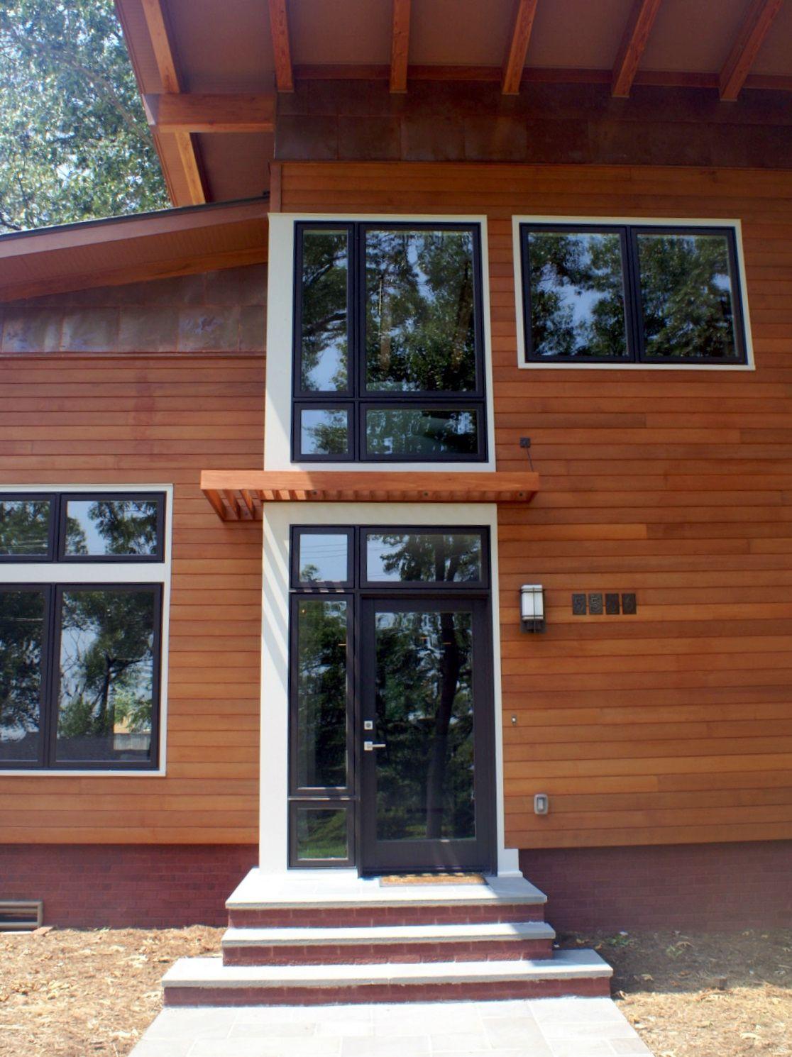 cedar home with black and white trim | Cedar siding | Pinterest ...