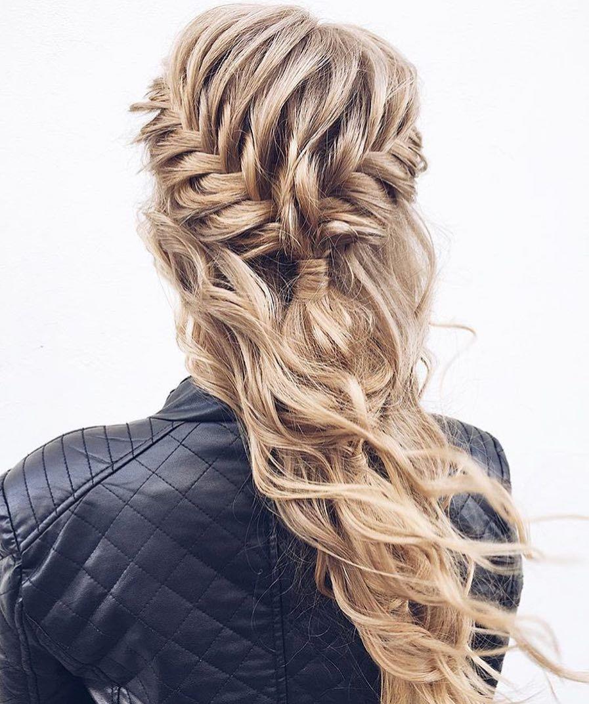 Waterfall side braid long curly hairstyle blonde easy