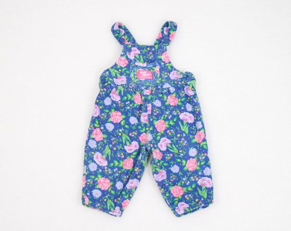 d2693fb27e7 Vintage Baby Girl Overalls Baby Jumper Pants Onesie Blue Purple Pink Floral  Print Baby Bgosh Oshkosh Romper Playsuit Jon Jons 12m 12 Months
