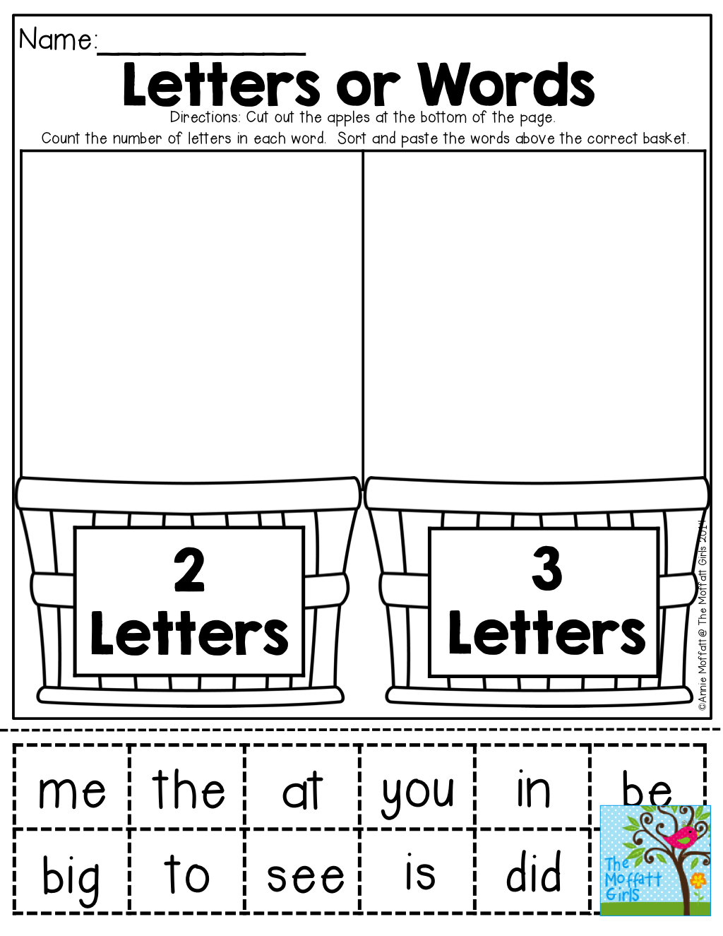 2 Letter And 3 Letter Sight Words Cut And Paste Tons Of Back To School Printables