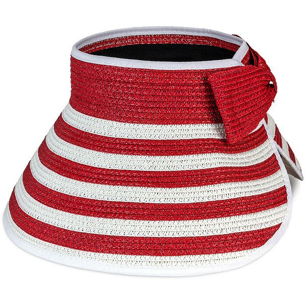 3b64b371898 Magid Red   White Stripe Straw Visor (20 BGN) ❤ liked on Polyvore featuring