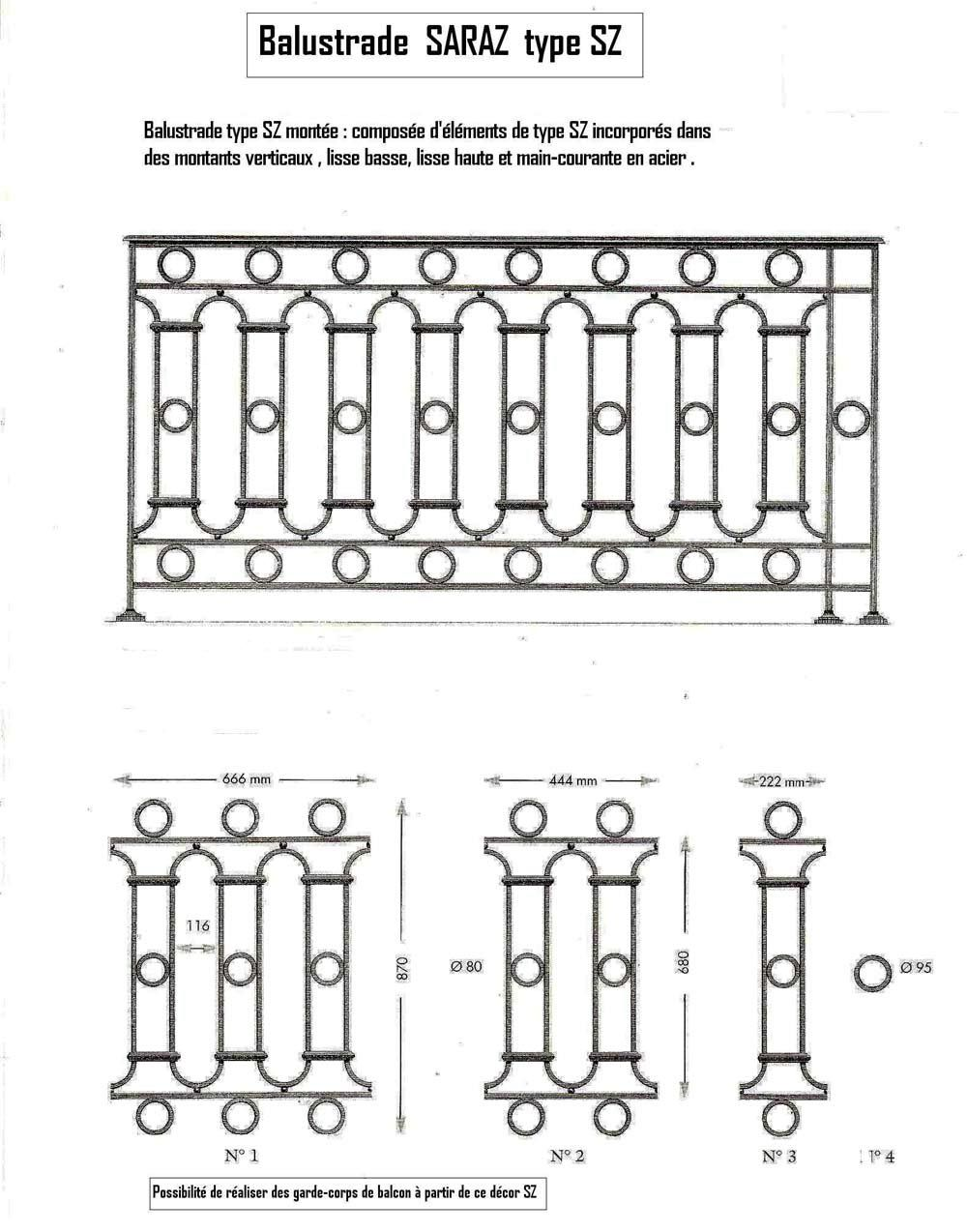 Appui de fenªtre Balcons et Balustrades en fonte FGL ou FGS