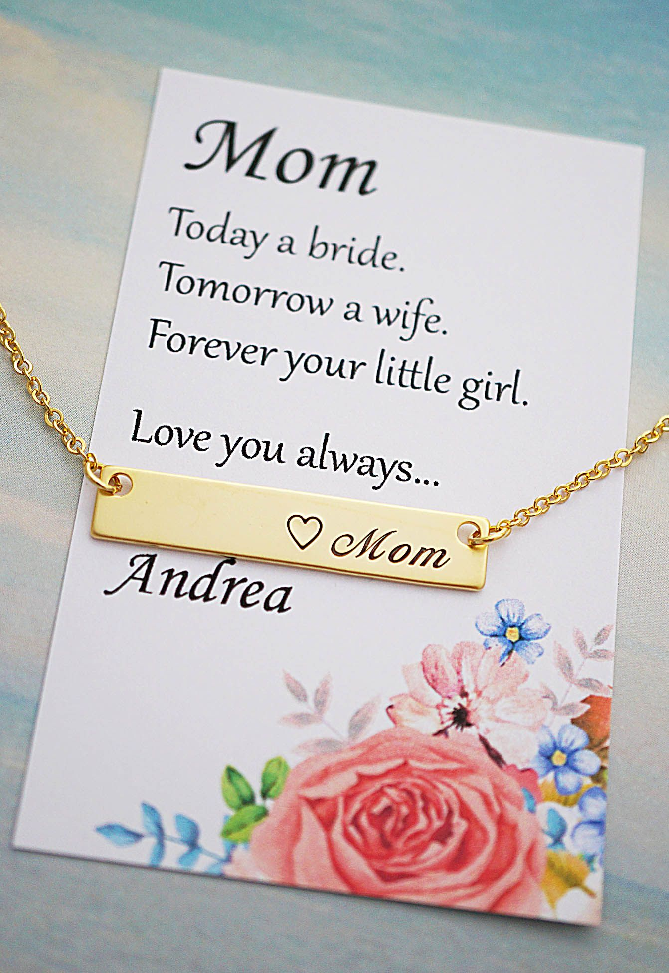 Mom Necklace Mother Of The Bride Gift Name Bar Necklace