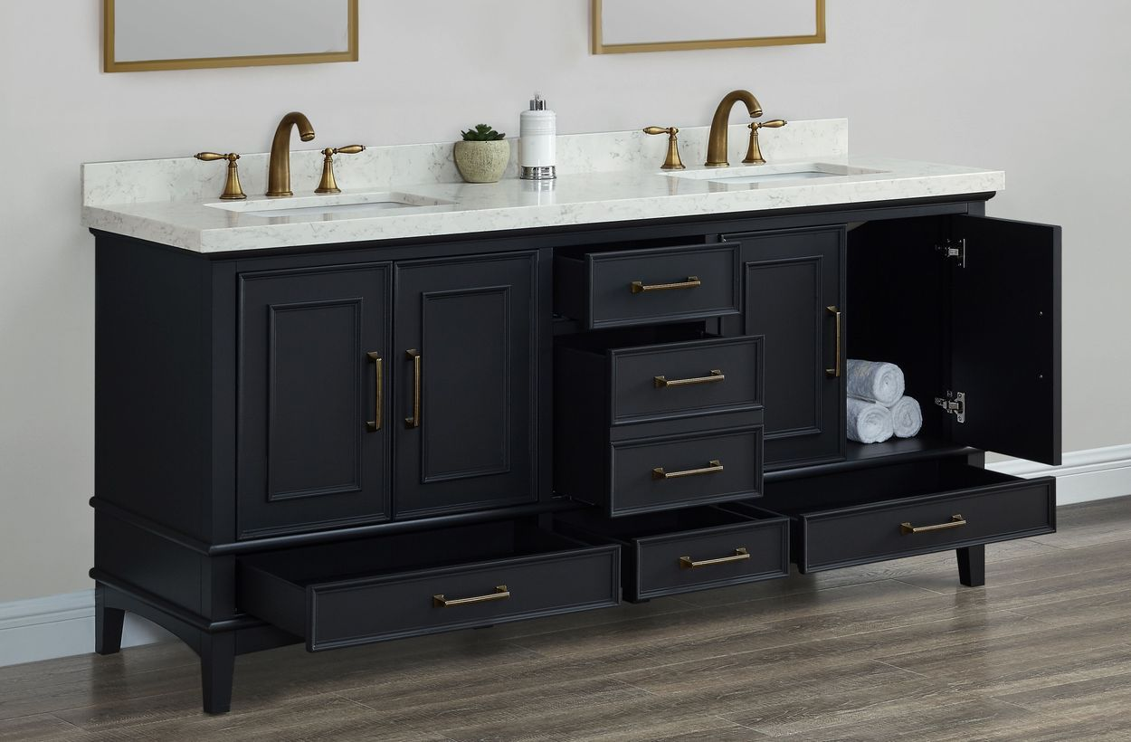 Parker Midnight 72 Inch Double Sink Vanity By Mission Hills