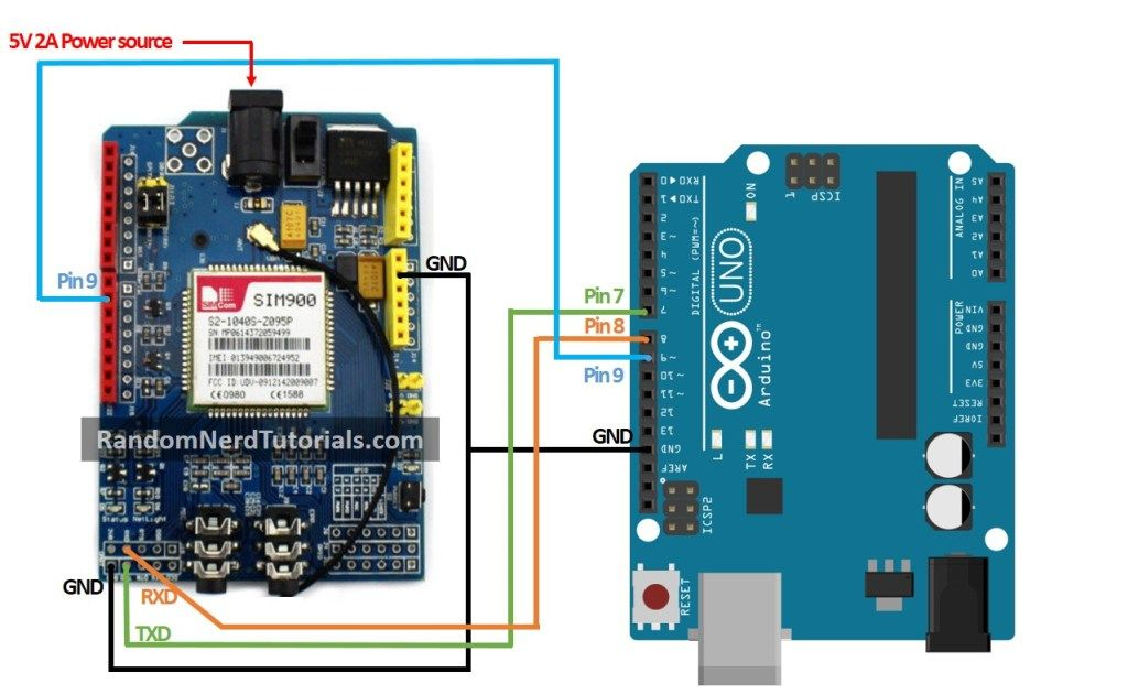 Sim900 Gsm Gprs Shield With Arduino Schematic Diagram Random Nerd