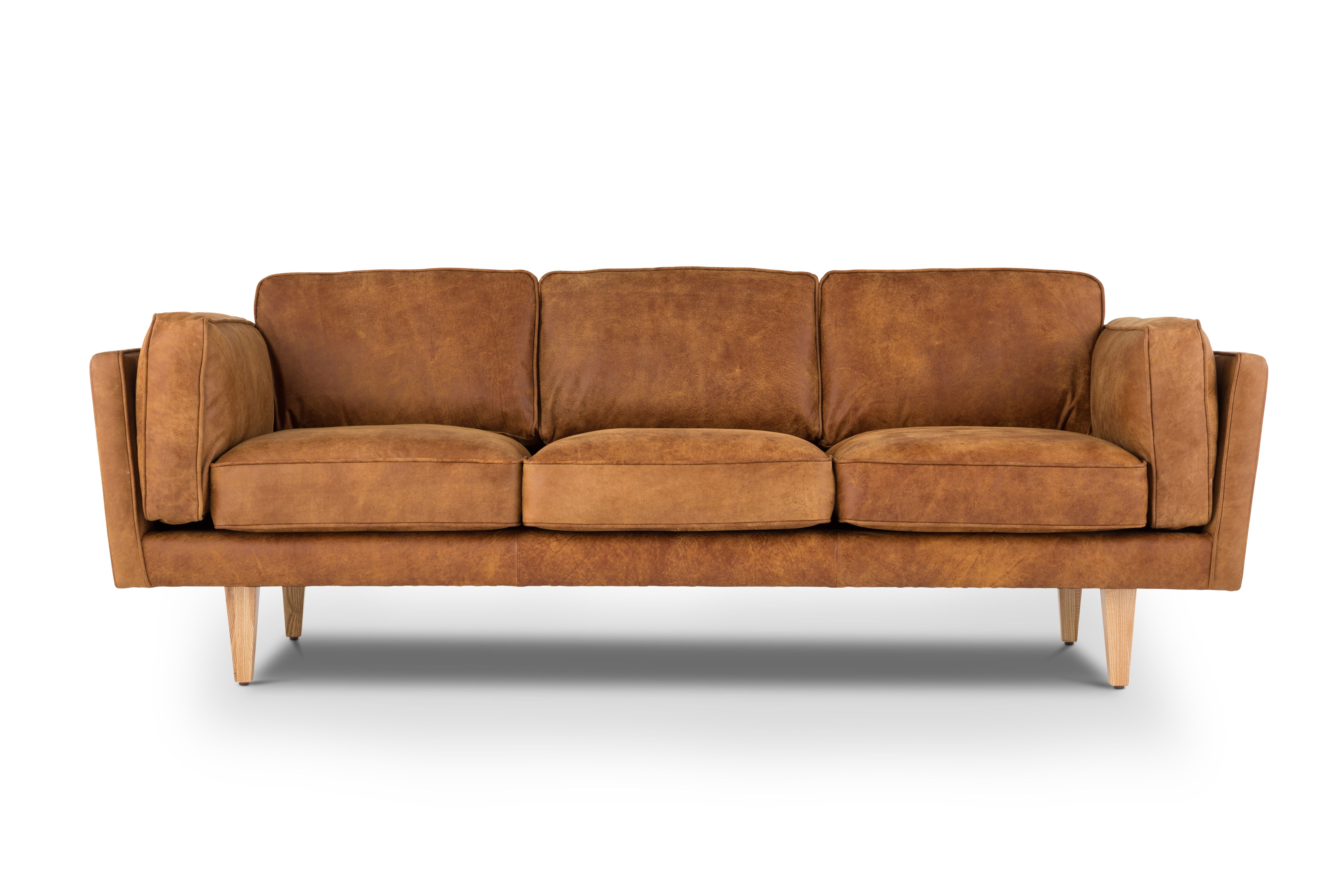 Reyna In Outback Tan Leather Style/Type   Mid Century Modern Sofa / 3 Seat  Leather Sofa