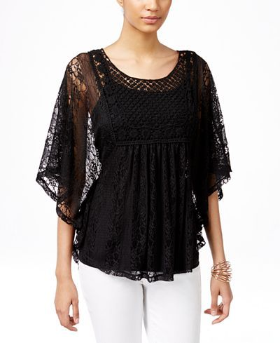 Style & Co. Lace Poncho-Sleeve Top, Only at Macy's - Style & Co. - Women - Macy's
