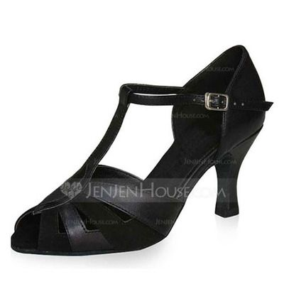 Women's Patent Leather Heels Sandals Latin With T-Strap Dance Shoes (053022297)
