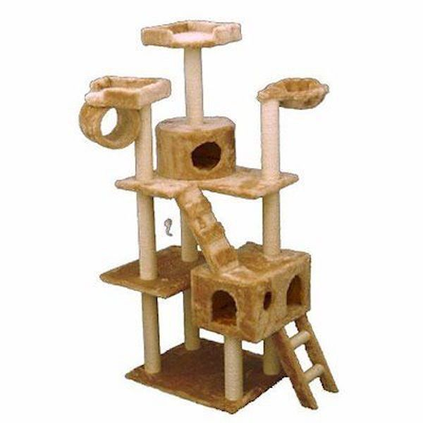 """Cat Towers And Condos Trees Honey Colored Faux Fur 73"""" Tall Easy Clean NEW #MajesticPet"""