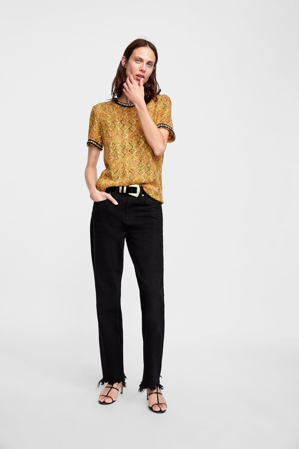 52472d34dd9 Image 1 of TWEED TOP WITH FAUX PEARLS from Zara | xmas list | Tops ...