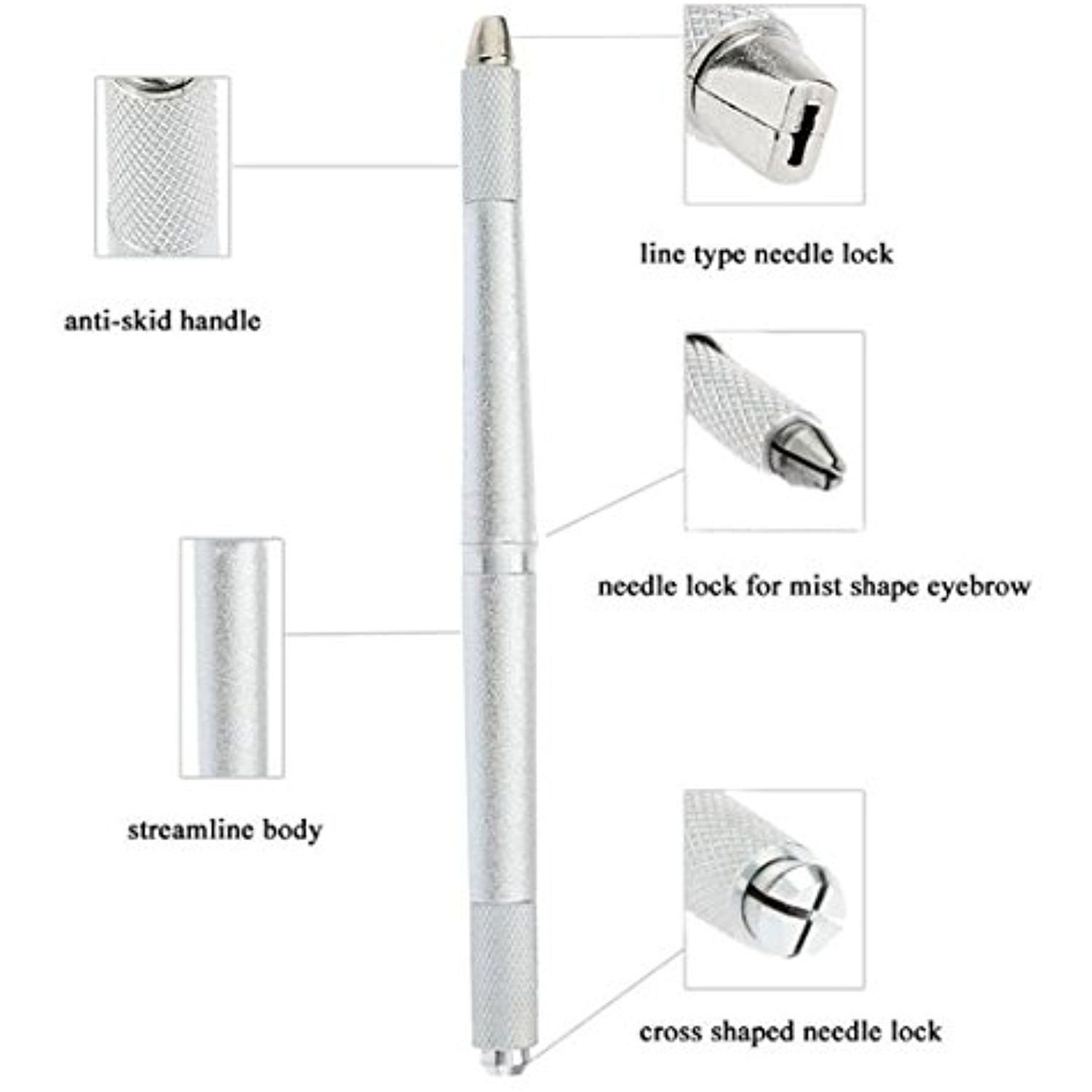 Professional Eyebrow Tattoo Manual Pen 3D Eyebrow Embroidery Microblading Pen Silver Color 3 Heads Available Suit for Curve Flat U Shape Round Microblading Needles CHFENG * Read more  at the image link. (This is an affiliate link and I receive a commission for the sales)