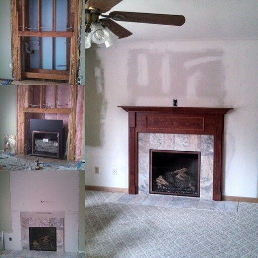 Mendota gas fireplace , light framing and drywall , custom cherry ...