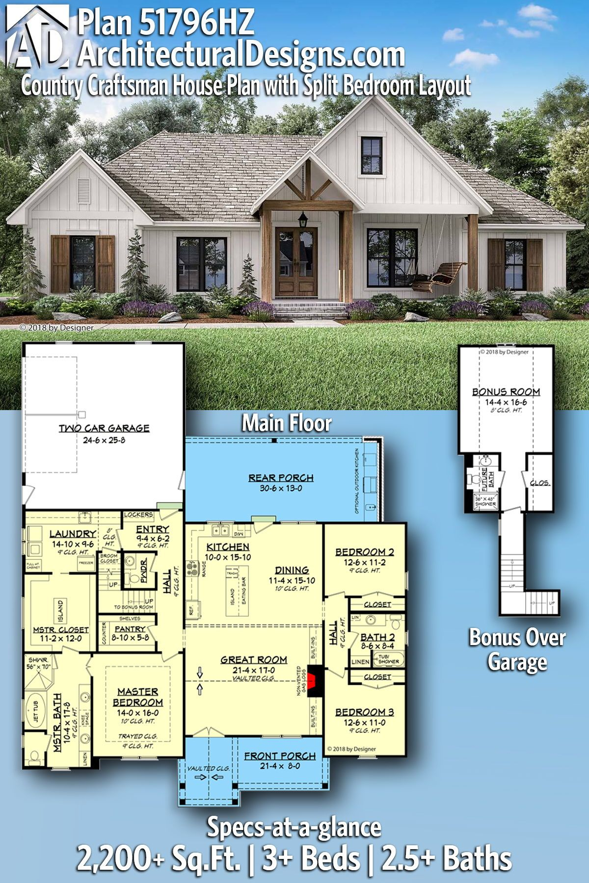 Plan 51796hz Country Craftsman House Plan With Split Bedroom Layout In 2020 Craftsman House Plans House Plans Farmhouse New House Plans