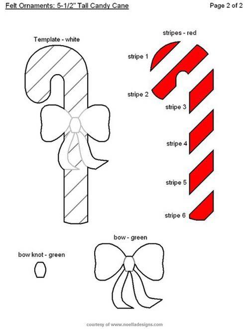 Moldes gratis de bastones navideños en fieltro08 | navidad ...
