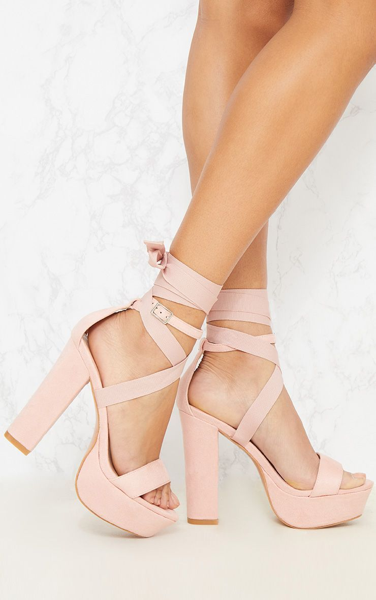addce1ce7f4f Nude Leg Wrap Platform Sandal. Shop the range of shoes today at  PrettyLittleThing. Express delivery available. Order now