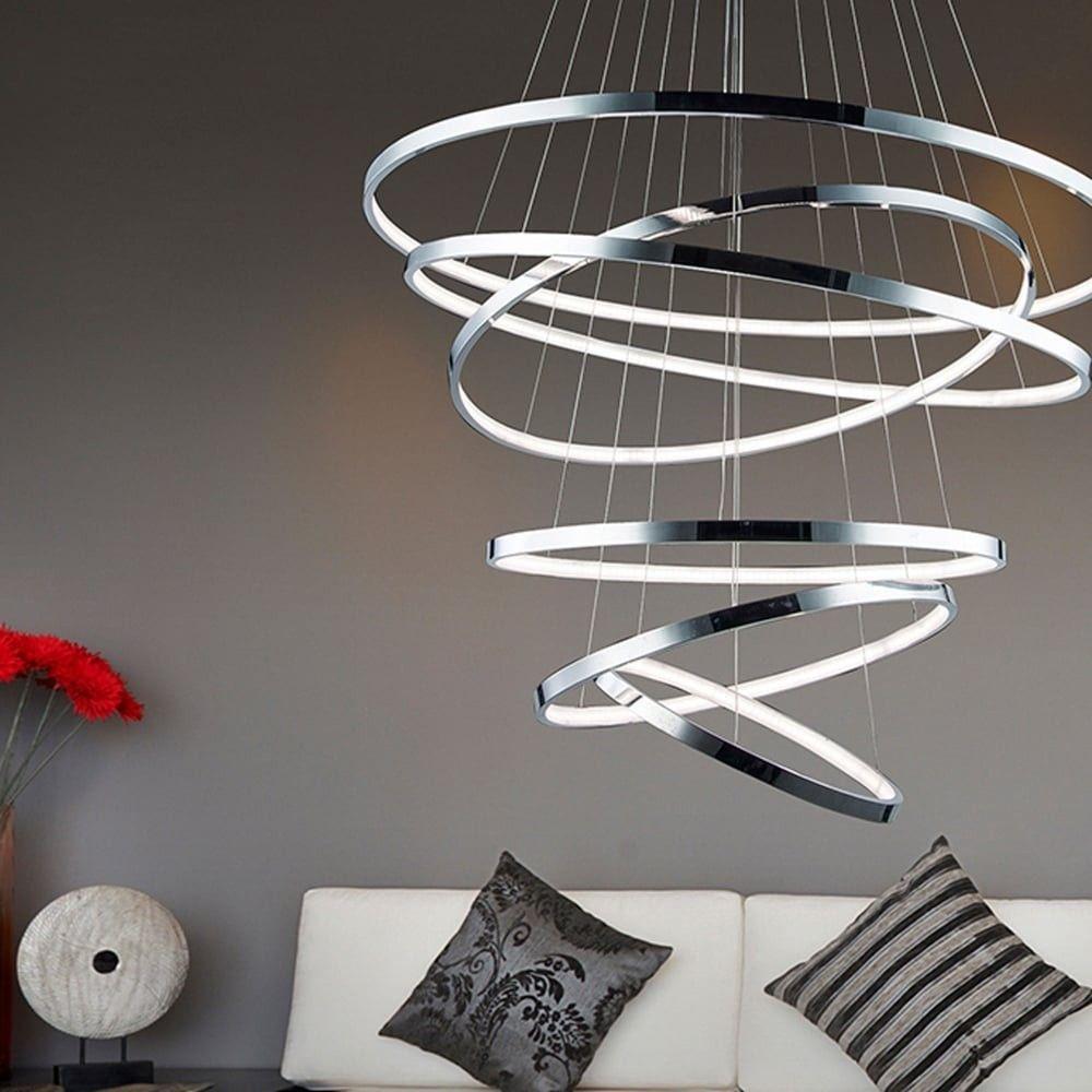 Loop LED-Pendelleuchte 6 Ringe XXL 320 cm, Ø 85 cm / Chrom 50272 ...