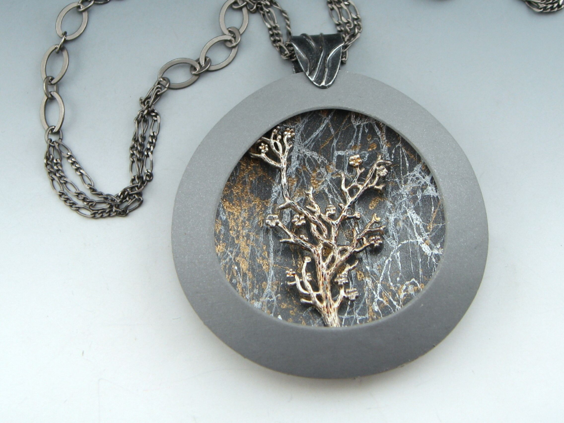 Polymer clay. Vintage brass tree stamping. By Stonehouse Studio.