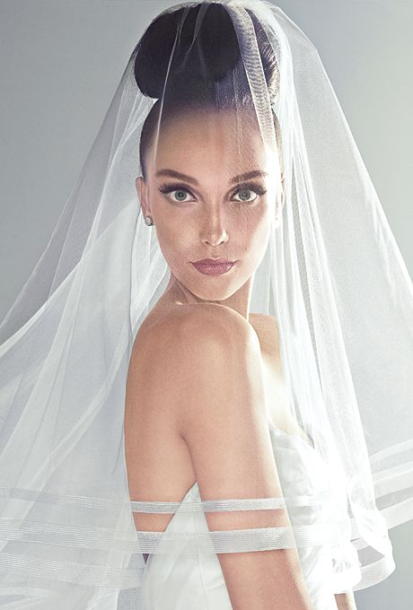 Brides.com: Beautiful Wedding Veils in Every Length. Waltz Veil. Silk-organza trumpet wedding dress with a pleated drop-waist bodice and tiered tulle skirt, $3,223, Alvina Valenta. Two-tier waltz length veil with horsehair edge, $205, Bel Aire Bridal. Earrings, price upon request, Suzanne Kalan available at Fragments. See more Alvina Valenta wedding dresses.