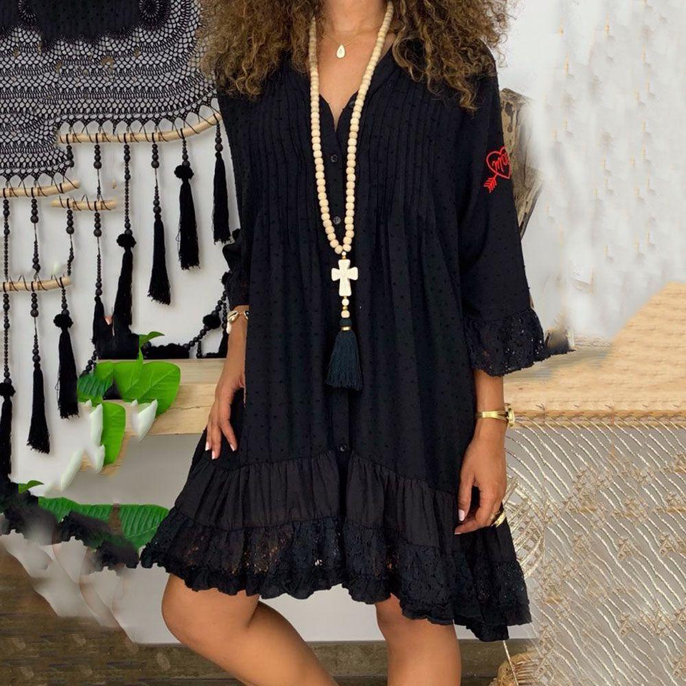 Three Quarter Sleeve Patchwork Knee Length V Neck Casual Women S Dress Summerhauls Com Casual Summer Dresses Casual Dresses For Women Dresses [ 1000 x 1000 Pixel ]