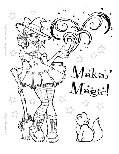 Printable Fun October Halloween Coloring Witch Coloring