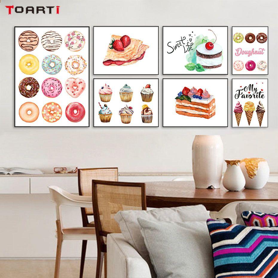 Cupcake Ice Cream Moderne Poster Drucken Süße Köstliche Desserts Modulare  Leinwand Malerei Für Wohnzimmer Wandbild
