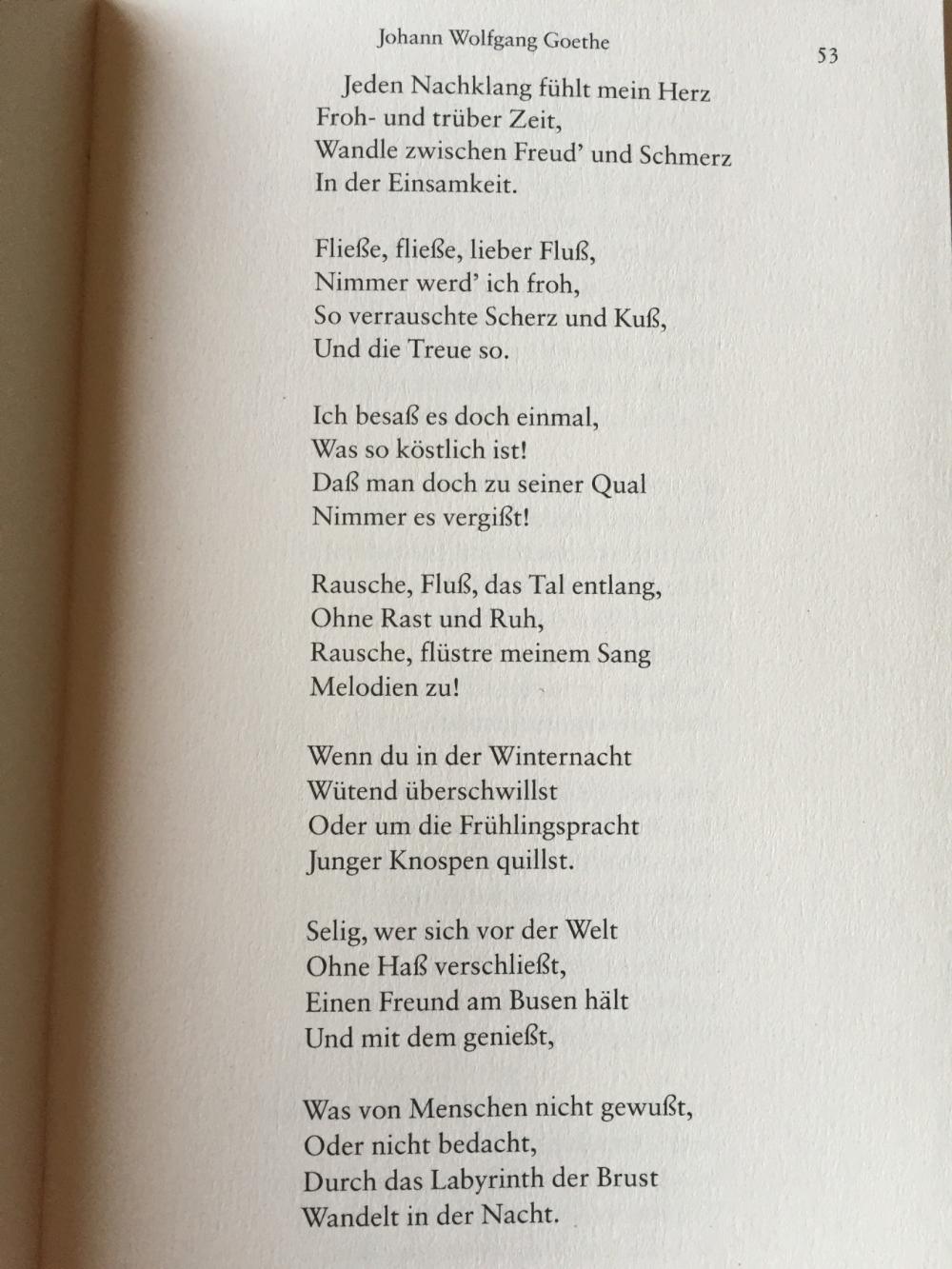 Goethe liebesgedicht Englische Gedichte