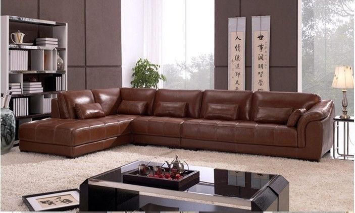Living room sectional leather Corner sofa, classic L shaped ...