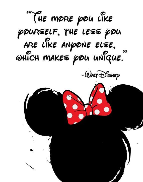 "Disney Quote Poster, Digital Download, Children's Decor, Printable Wall Art, Minnie Mouse, Prints,  Even miracles take a little time   is part of Disney quotes - Disney Quotes, Digital Poster, Printable Typographic Decor, Digital Download, Children's Decor, Printable Wall Art, Mickey Mouse, Prints, Funny Quote, Black and White Wall Art, Typographic Art  ""The more you like yourself, the less you are like anyone else, which makes you unique    Walt Disney  High quality JPEG file  Size 8x10 inches    RESIZE AVAILABLE FOR FREE    Specify desired size in note to seller   Instant download  Personal Use  Commercial Use This listing is for an INSTANT DOWNLOAD JPEG file of the image you see inside the frame   PHYSICAL PRINT NOT INCLUDED FRAME NOT INCLUDED Your purchase will include 1 instant download containing one 300dpi JPEG digital file sized at 8x10 inches  Please keep in mind that the colors you see on your screen may vary slightly from how will they appear when printed or on another device due to the color calibration of your monitor  The final colors will depend on the type of paper, ink, and printer used to print this image   Please do NOT claim this design as your own or sell it  You are welcome to use this for personal or commercial use as long as you alter it and do not sell in the same manner that I am selling it  All purchases are final"