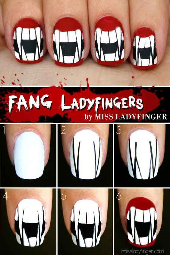Easy Halloween Nail Art Tutorials 2019 Step By Step Halloween Nail Art Tutorial Halloween Nails Easy Halloween Nail Designs