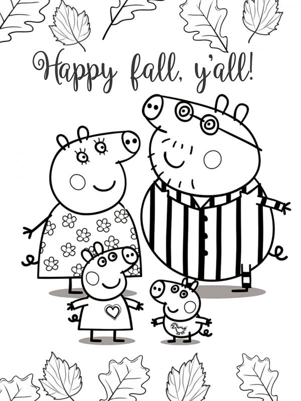 Peppa Pig Family Happy Fall Coloring Pages Peppa Pig Coloring Pages Peppa Pig Colouring Turtle Coloring Pages