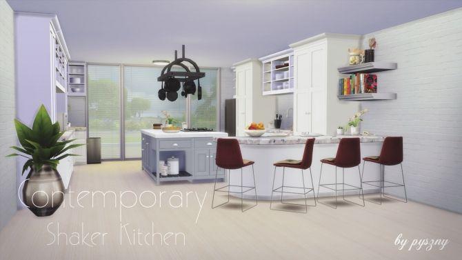 Contemporary Shaker Kitchen at Pyszny Design via Sims 4 Updates