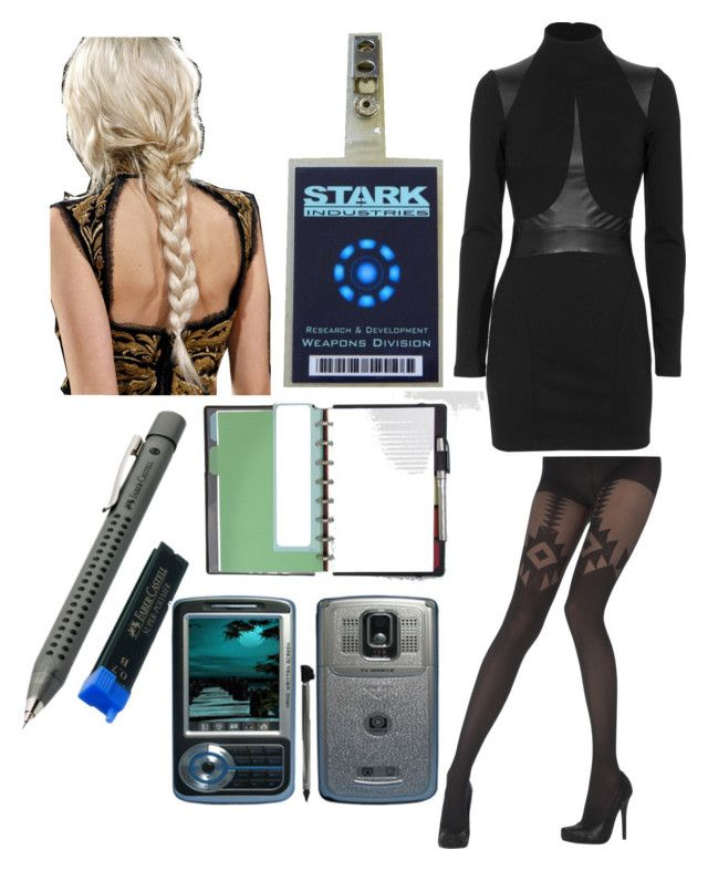 """""""Stark's New Secretary"""" by crimsonblackrose ❤ liked on Polyvore featuring Plein Sud, Pretty Polly, Faber-Castell and Martha Stewart"""
