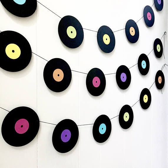 Music Garland - Party Decor - Music Decor - records - Photo Prop - Music Teacher Gift -Record Garland #musicdecor