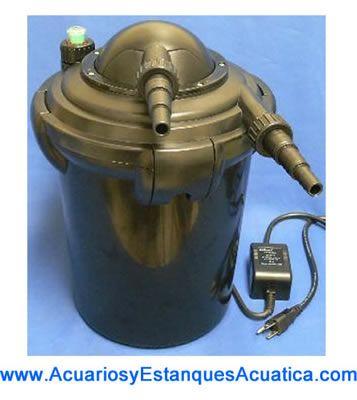 Filtro a presion con lampara uv c 7w para estanques for Accesorios para estanques