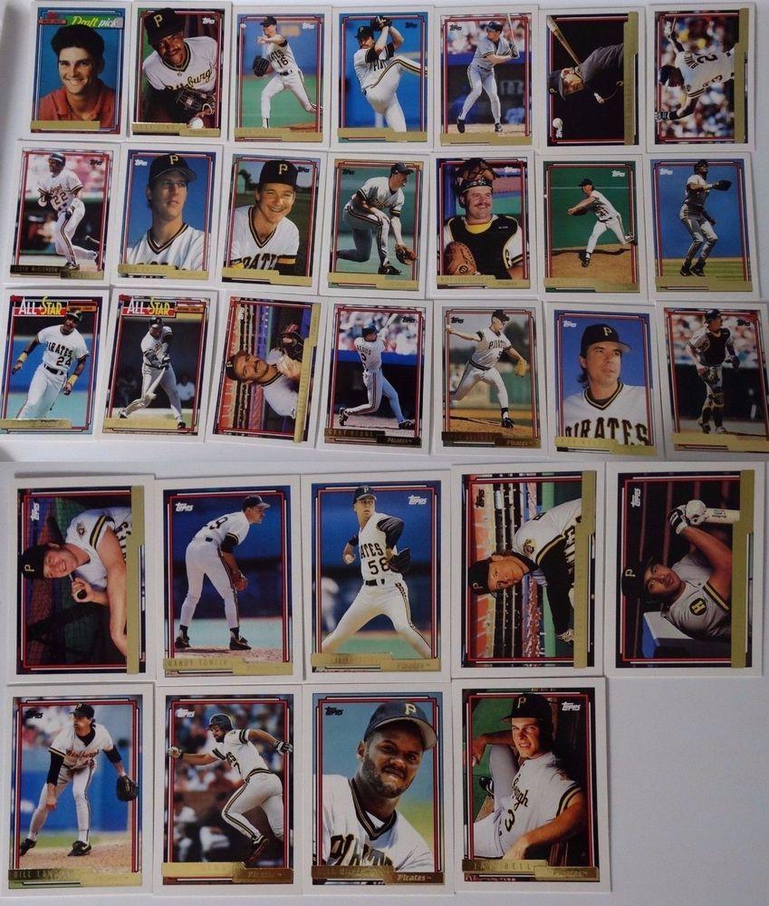1992 topps gold pittsburgh pirates team set of 30 baseball