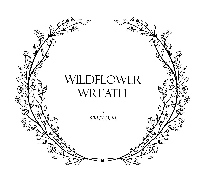 Wildflower Wreath Vine hand drawn LOGO art/Clipart/Vector
