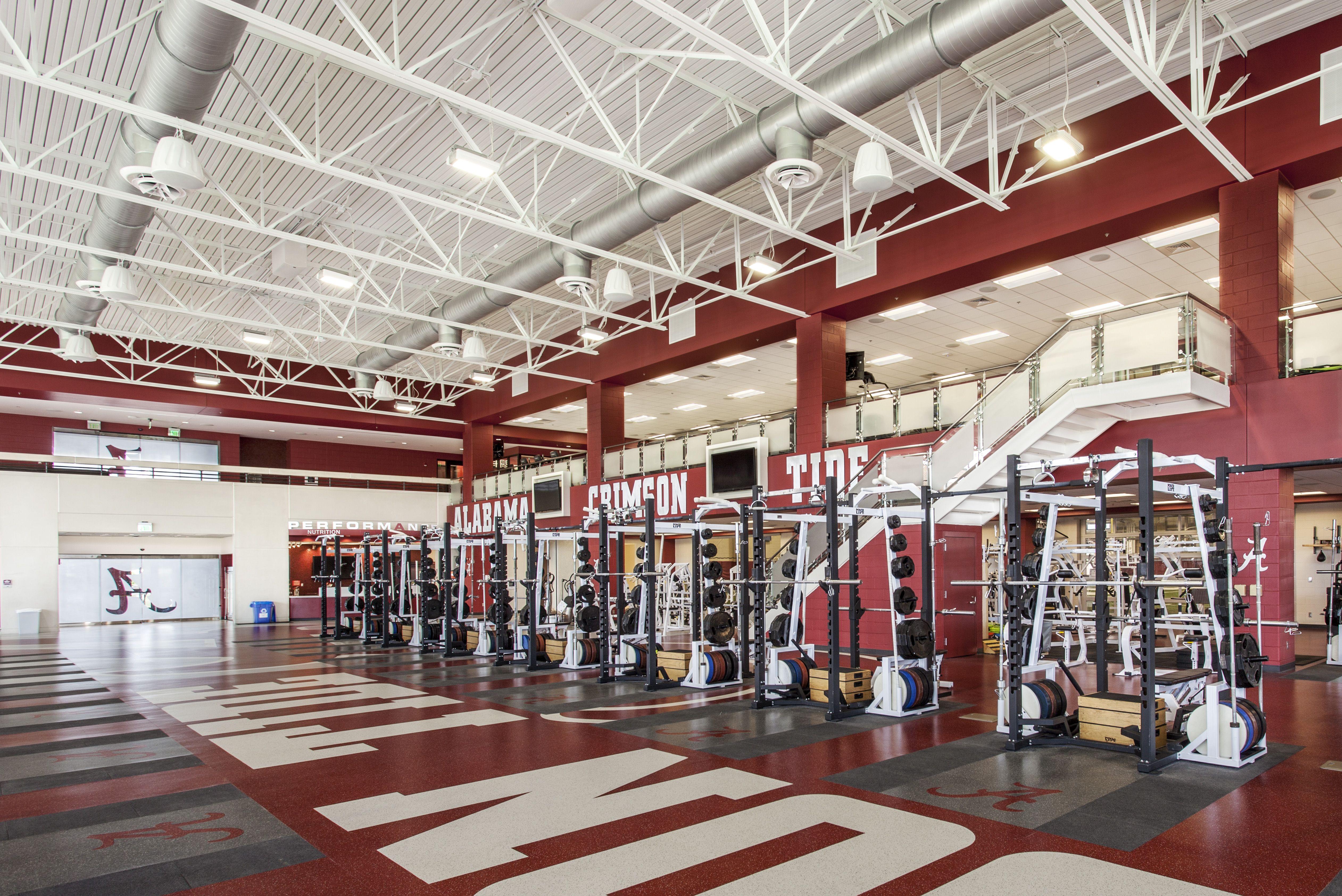 University Of Alabama Football Weightroom Stadium Design Education Design Sports Design