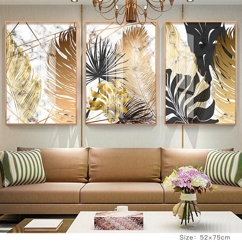 Nordic Tropical Gold Leaves Abstract Wall Art Posters Fine Art