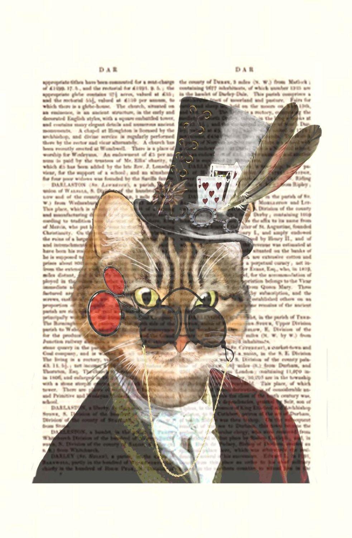 Tabby cat wall art steampunk cat print phileas feline