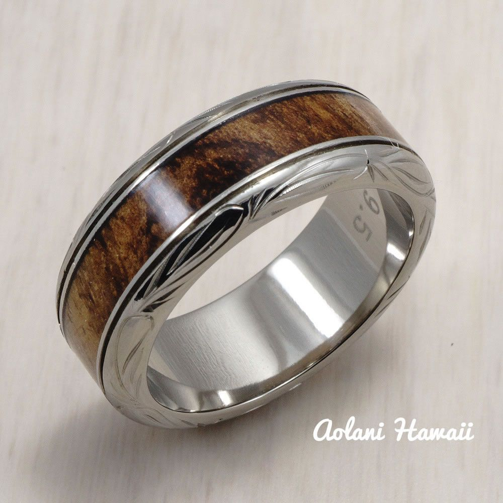 Titanium ring with hawaiian koa wood inlay mm width barrel style