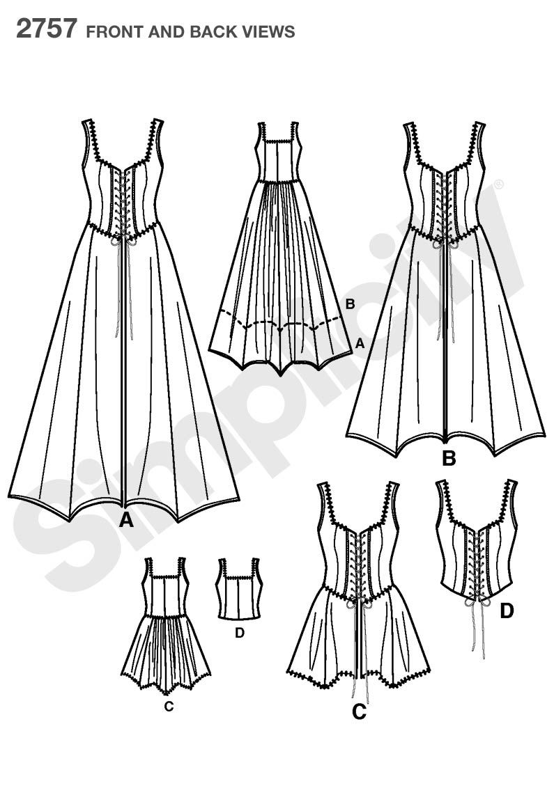 Womens Costume Sewing Pattern 2757 Simplicity Rapunzel corset ...