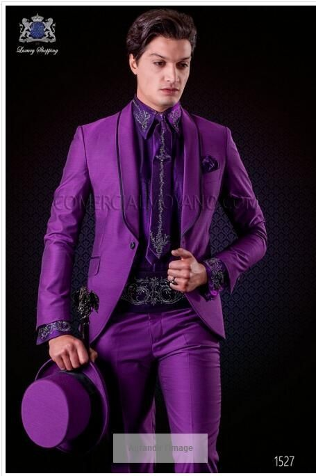 Latest Coat Pant Designs Italian Purple Tuxedo Men Suit Slim Fit 2 ...