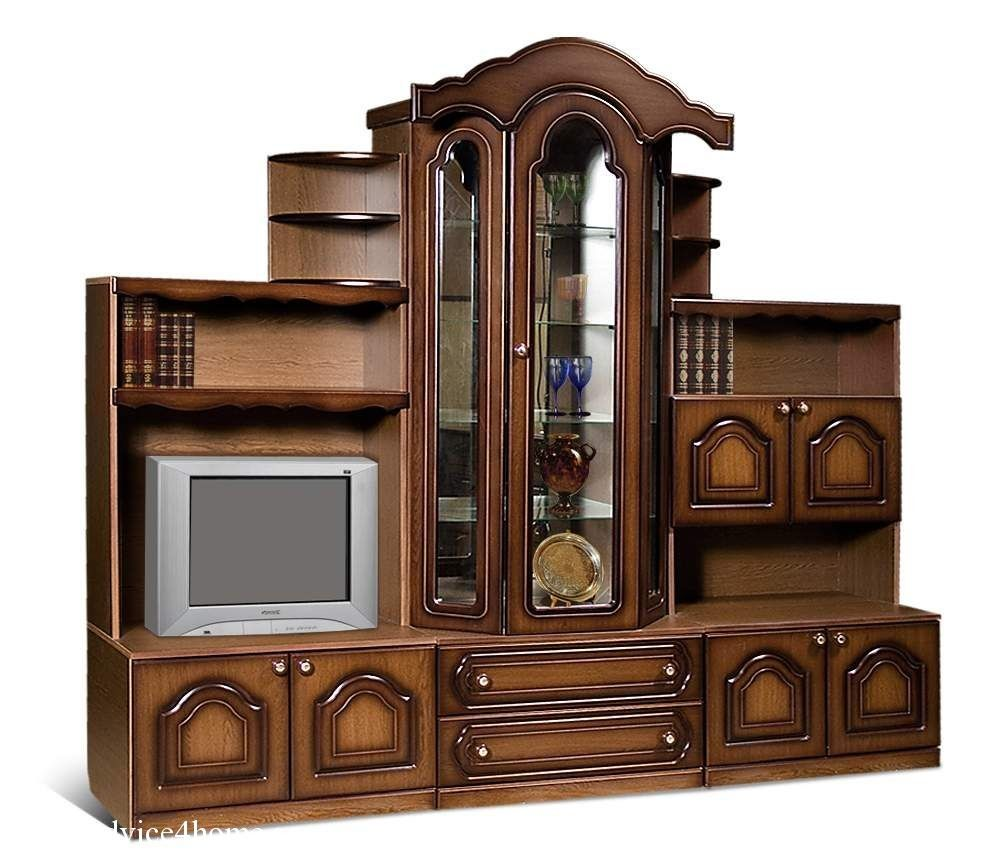 Solid wood cupboard furniture designs with TV and drawers design